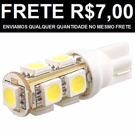 (25und) Lampada T10 9 Led Branca Pingo Luz W5w 5050 6k Xenon