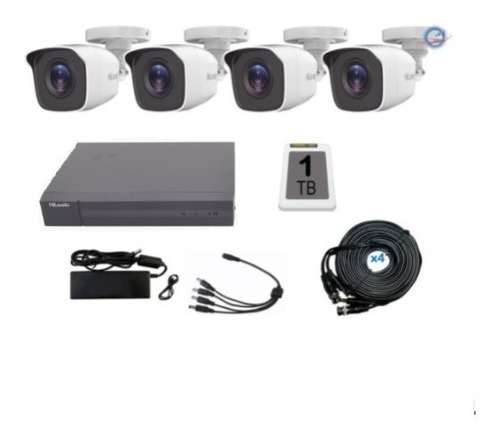 Imagen 1 de 7 de Kit 4 Camaras Hikvision 1080p Dvr 8 Canales 2mpx Disco 1 Tb