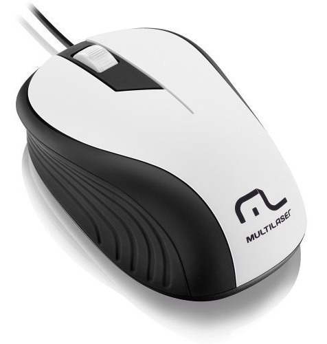 Mouse Óptico Usb 1200dpi Emborrachado Multilaser Wave Branco