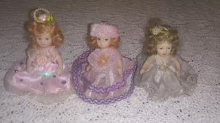 Lote Muñecas Muñequitas Cerámica Miniatura Colección