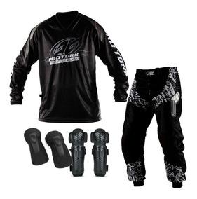 Kit Insane Joelheira Cot. Calça Camisa Trilha Motocross Tork