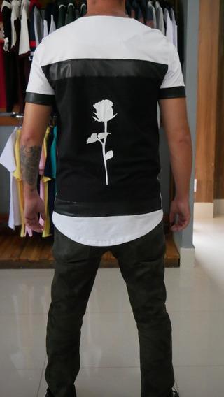 Camiseta Rosas Preta Kj