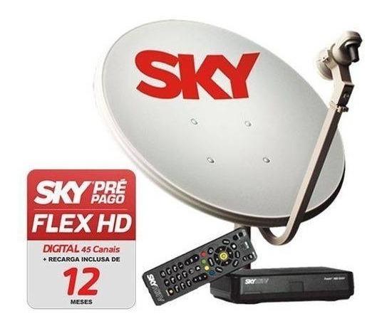 Sky Pré Pago Hd Livre 12 Meses + Antena 60cm C/ Globo & Sbt