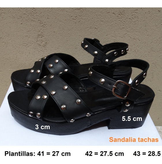 Sandalia Tachas Cuero Pu Talle Grande 41 42 43 44