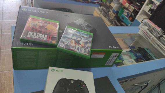 X Box One X 1tb 1 Mês De Uso Com Dois Controles Mais 2 Jogos