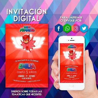 Tarjetas De Invitacion Heroes En Pijamas En Mercado Libre