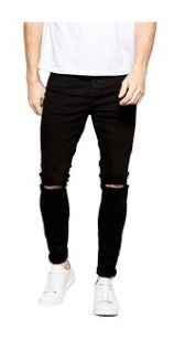 Calça Jeans Masculina Skinny Rasgada Com Lycra