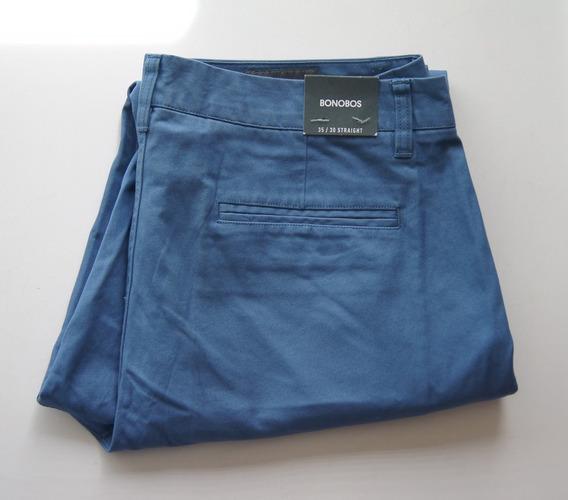 Bonobos Pantalon Straight Fit Color Azul Acero Talla 35wx30l