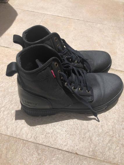 Zapatillas Levis Negras Lona Y Cuero - Usadas -