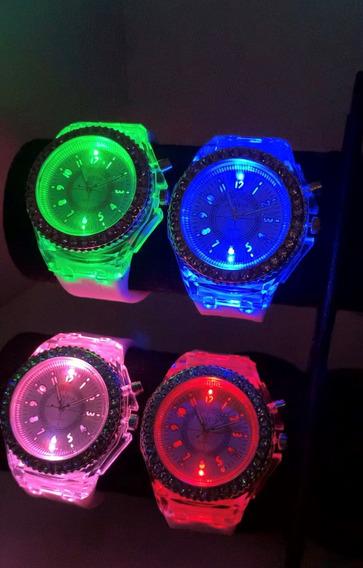 Relógio De Pulso Geneva - Led Colorido - Resistente A Agua
