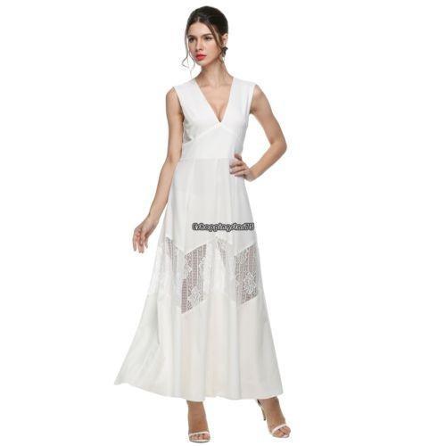 c6dc9c7b2 M - White - V Profunda Vestido De Verano Vestido De Ver-4707 ...