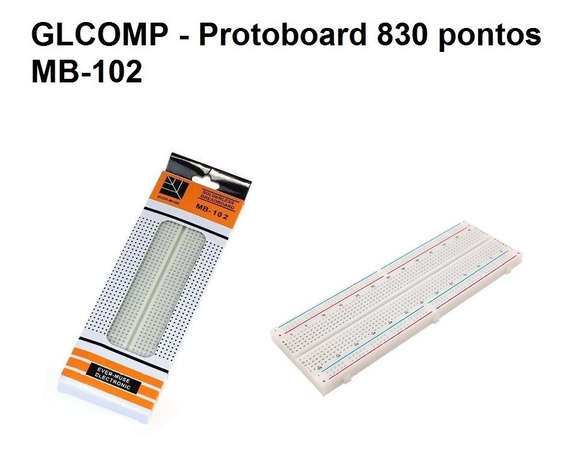 Protoboard Mb102 Breadboard 830 Pontos Furos Arduino - 2 Pçs