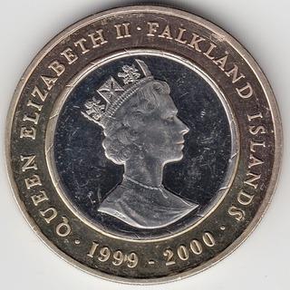 Islas Malvinas Moneda Plata Y Oro 2 Libras 2000 Milenio Pr