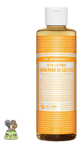 Jabon Vegano Puro De Castilla -citricos Dr Bronners Fralugio