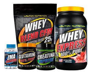 Kit Whey Protein + Wey Blend + Creatina + Glutamina + Zma