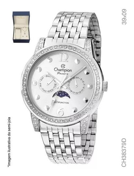 Relógio Champion Ch38379d Prata + Kit Brinde