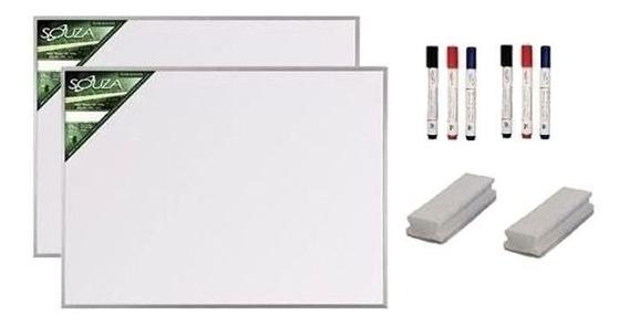 2 Quadro Branco 120x90 M Alumínio 5605 + 6 Marcad + 2 Apagad