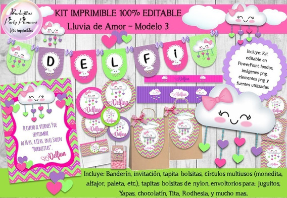 Kit Imprimible Candy Bar Lluvia De Amor 100% Mod. 3 Editable