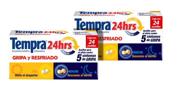 Kit Tempra 24 Horas Gripe Y Resfriado 24 Tabletas 2 Pzas
