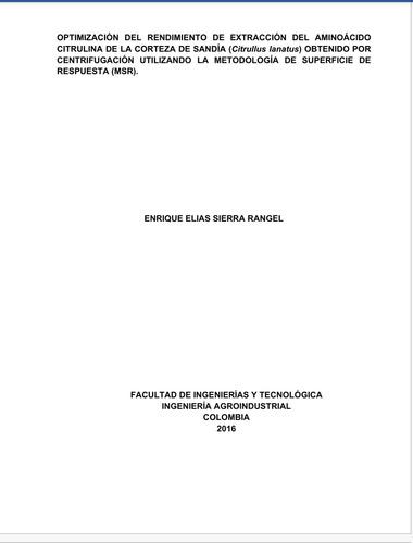Tesis:optimización De La Extracción Del Aminoácido Citrulina