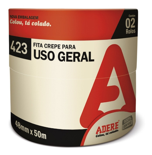 Fita Crepe Uso Geral 48mmx50m - Kit Com 2 Adere