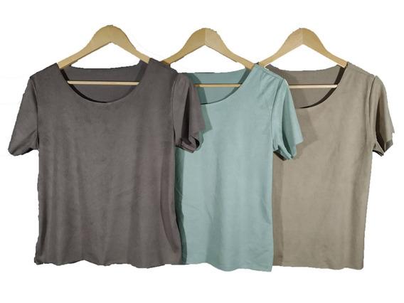 Blusinha T-shirts Sued Top Lançamento Moda Outrono-inverno