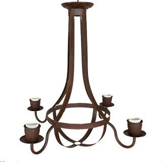 Lámpara Colgante Araña Pera 4 Luces - Chapa Hierro Óxido
