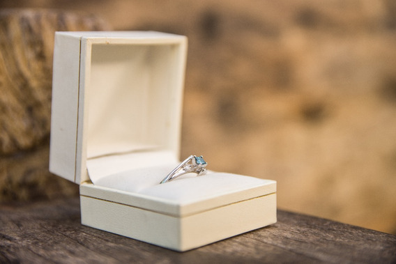 Ring Diamond Blue 14 K 0.17 Ct Corte Princess