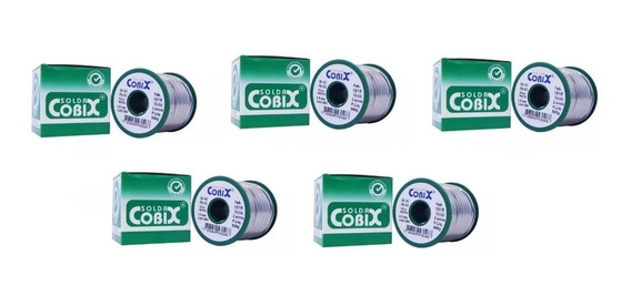 Kit 5 Rolo Solda Estanho Cobix Verde 500gr 40x60 Fio 1,5mm