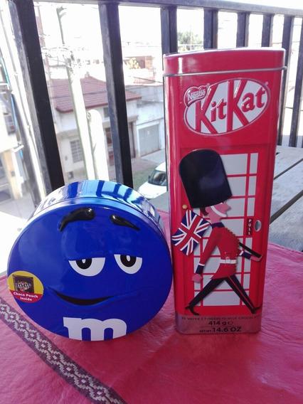 Latas Coleccionables M&m Y Kit Kat Alcancía Vacías