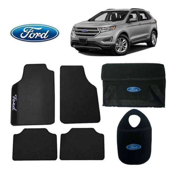 Bolsa Automotiva+tapete+lixeira Ford Edge Preto Bordado
