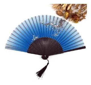 Leque Oriental Modelo Luxo Bamboo Estampa Com Sakura
