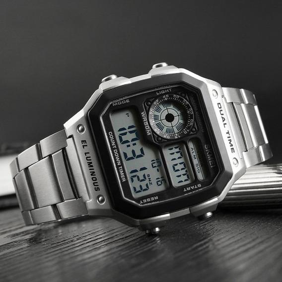 Relógio Unissex Skmei 1335 Original Pulseira Em Aço Retro