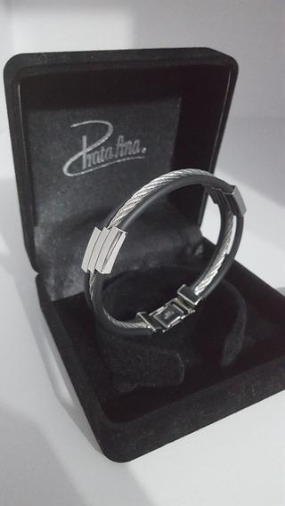 Bracelete Prata Fina Masculino Steel Collection Cabo Náutico