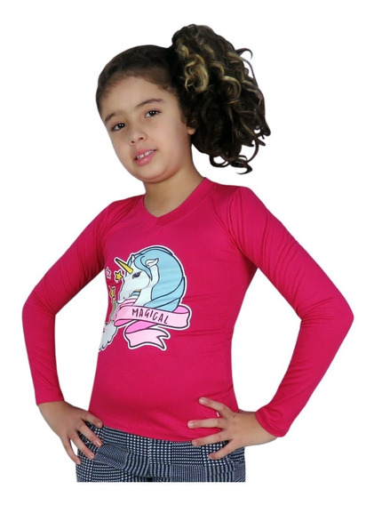 Kit 10 Blusas Camiseta Manga Longa Feminina Menina Infantil