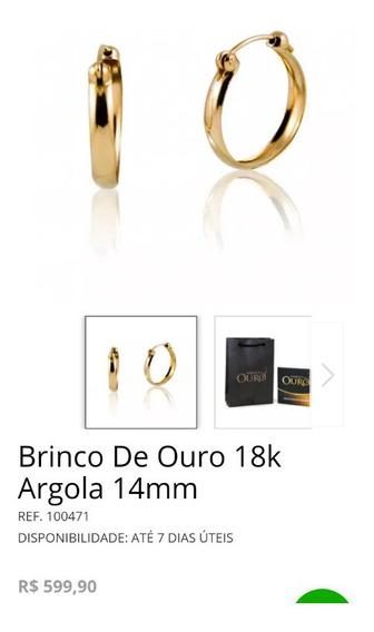 Brinco Argola Ouro Maciço 18k Vendedor Moisés Vieira