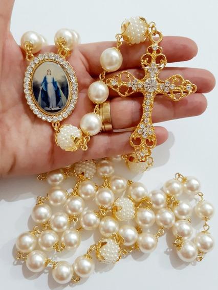 Terço De Noiva Dourado C Pérolas, Imagem Ns Das Graças, Cruz