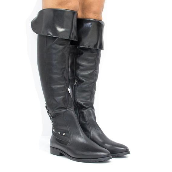 Bota Zariff Shoes Over The Knee Em Couro 1340501