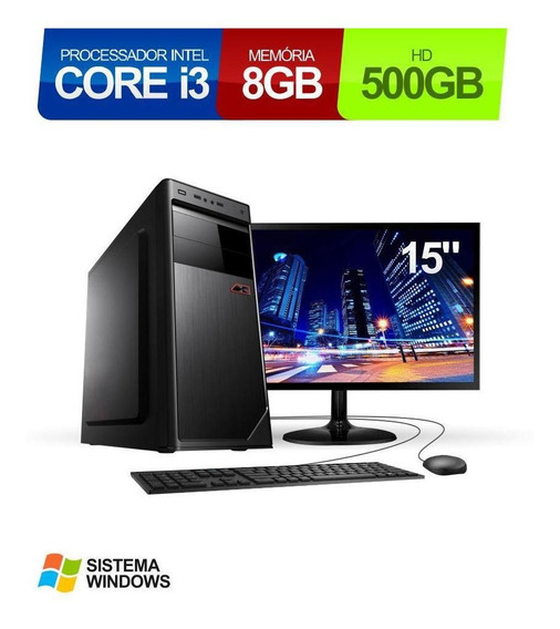 Computador Intel Core I3 8gb Hd 500gb Led 15