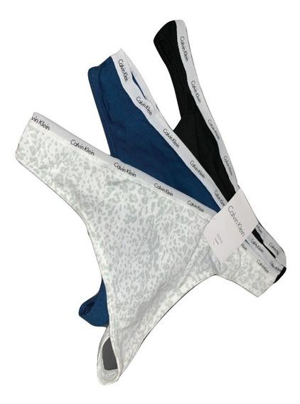 Calvin Klein Tanga Calzón Dama 3pza Talla L Original 100% Leopardo Azul Blanco