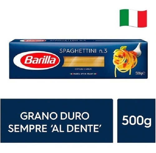 Imagen 1 de 2 de Fideos Italianos Pasta Barilla Spaghettini 500g Env Gra Caba