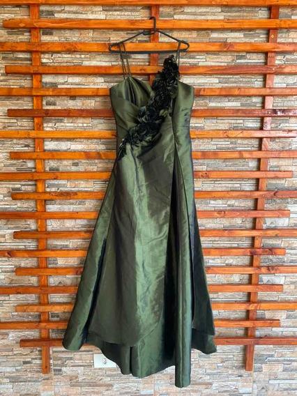 Vestido Longo De Festa Em Tafetá Verde Metálico