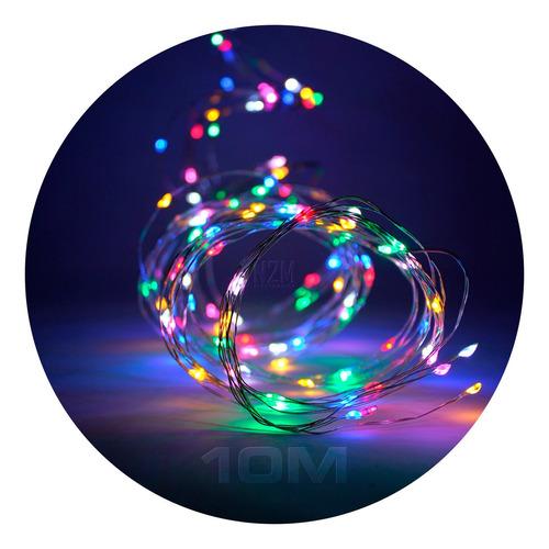 Alambre Luces Led 10 Metros Multicolor Exterior 220v Navidad