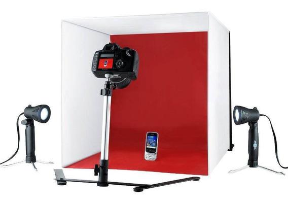 Kit Com Iluminação Mini Estúdio Fotografico Easy 60x60 110v