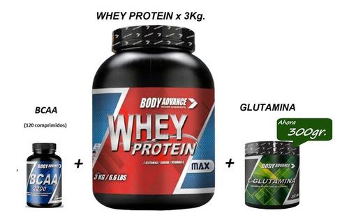 Whey Protein 3 Kg ( Proteína Pura ) + L - Glutamina + Bcaa 120 Comprimidos.  Body Advance