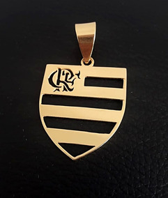 Pingente Prata Banho De Ouro. Flamengo Mengão