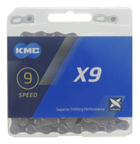 Corrente Kmc X9 Fina 116 Elos C/ Link Compativel Shimano Mtb