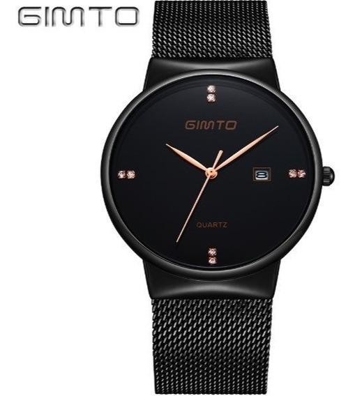 Relógio Masculino Executivo Gimto Aço Preto Quartzo * Brinde
