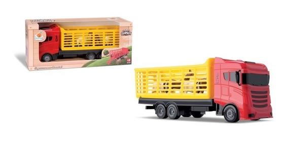 10 Bois Com Caminhão Boiadeiro 40cm Material Plastico