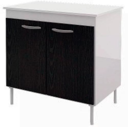 Mueble De Cocina Bajo Mesada 2 Puertas Blanco/negro Czb63